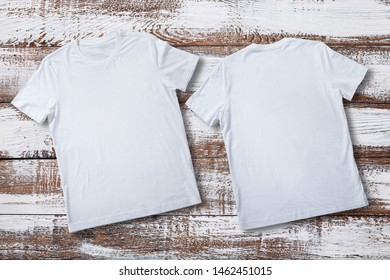 T-shirt design fashion concept, closeup of man and boy in blank white t-shirt, shirt front end rear isolated. Mock up for sublimation.
