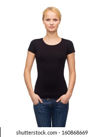 t-shirt design, happy people concept - smiling woman in blank black t-shirt