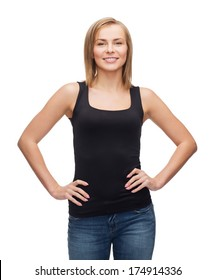 t-shirt design, happy people concept - smiling woman in blank black tank top