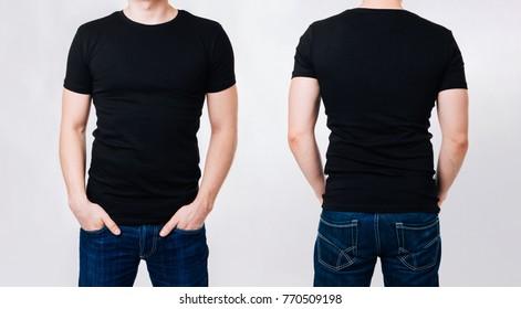 T-shirt design - man in black blank tshirt on gray background