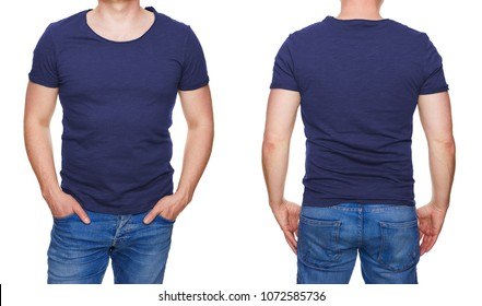 T-shirt design - man in blank dark blue tshirt front and rear isolated on white