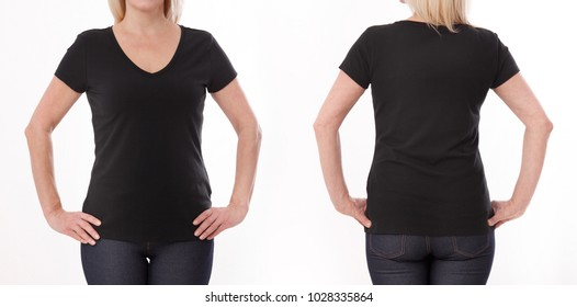 T-shirt design and people concept - close up of woman in blank black shirt, shirt front and rear isolated. Mock up.
