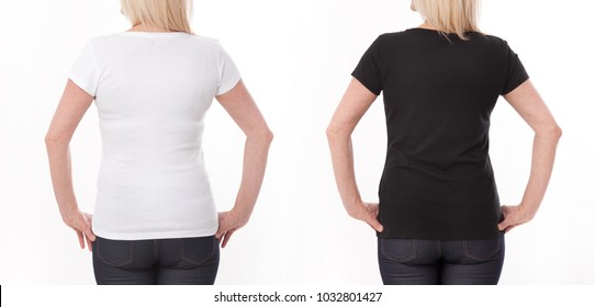 T-shirt design and people concept - close up of woman in blank black and white shirt, shirt rear isolated. Mock up.