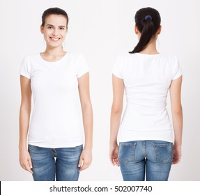T-shirt design and people concept - close up of young woman in blank white t-shirt, shirt, front and rear isolated.