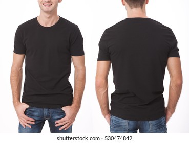t-shirt design and people concept - close up of young man in blank black t-shirt, shirt front and rear isolated.