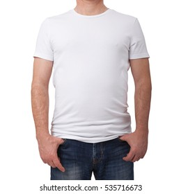 T-shirt design and people concept. Close up of man in blank white shirt isolated.