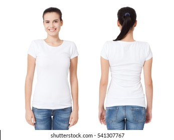 T-shirt design and people concept - close up of young woman in blank white shirt, front and rear isolated. Mock up template for design print