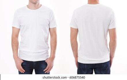 t-shirt design and people concept - close up of young man in blank t-shirt, shirt front and rear isolated.