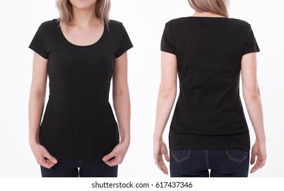 t-shirt design and people concept - close up of young woman in blank white t-shirt, shirt front and rear isolated.