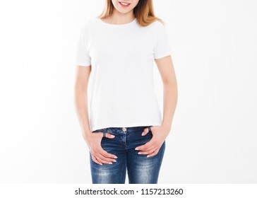 T-shirt design, people concept - closeup of young woman in white shirt, front isolated. Mock up template for design print. Copy space
