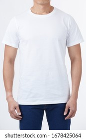 T-shirt design template concept - Men perfect body wear the white tshirt mockup template design with clipping path.