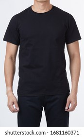 T-shirt design template concept - Men perfect body wear the black tshirt mockup template design with clipping path.