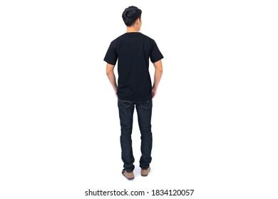 T-Shirt-Design, Young man in Black T-Shirt einzeln auf weißem Hintergrund