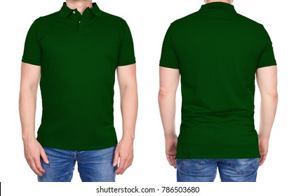 T-shirt design - young man in blank dark green polo shirt from front and rear isolated
