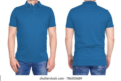 T-shirt design - young man in blank light blue polo shirt from front and rear isolated