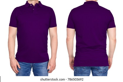 T-shirt design - young man in blank purple polo shirt from front and rear isolated