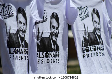 T-shirt with the face of the brazilian presidential candidate, Jair Bolsonaro. Photograph taken in Campinas/ São Paulo Brazil, on October 21, 2018, during pro-Bolsonaro demonstration.