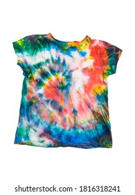 T-shirt with a homemade tie dye pattern isolated on a white background. White clothes painted by hand.