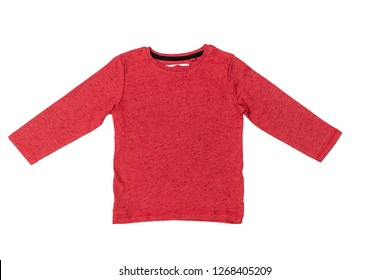 T-shirt with long sleeves for boy isolated on white background/ Top view/ Flat lay