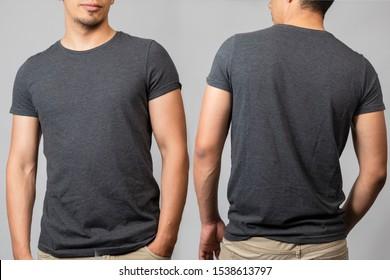 t-shirt mockup of man back and front