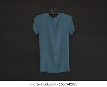 T-shirt mockup on a wooden surface, 3d rendering