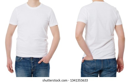 T-shirt template and blank. T shirt front and back view. Mock up isolated on white background. Copy space. Cropped image