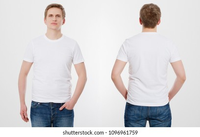 T-shirt template. Front and back view. Mock up isolated on white background. Summer blank shirt. Mock up