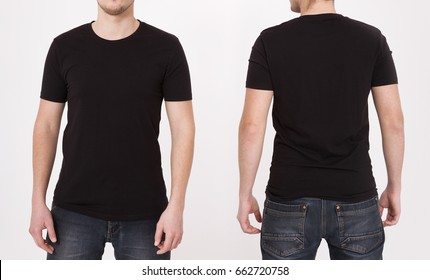 T-shirt template. Front and back view. Mock up