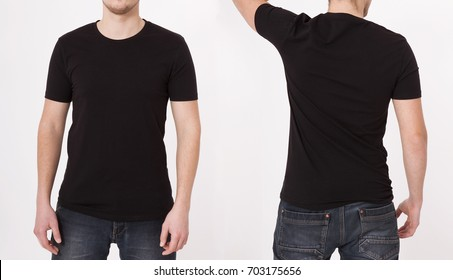 T-shirt template. Front and back view. Mock up isolated on white background