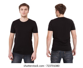 T-shirt template. Front and back view. Mock up isolated on white background. Black shirt