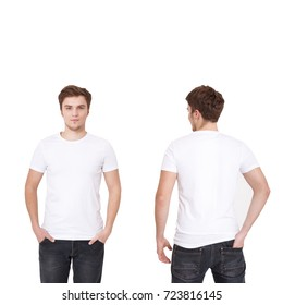 T-shirt template. Front and back view. Mock up isolated on white background. White tshirt.