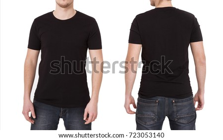 T Shirt Template Front And Back View Mock Up Isolated On White Background