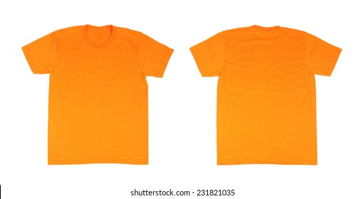 T Shirt Template Setfront Back On White Background