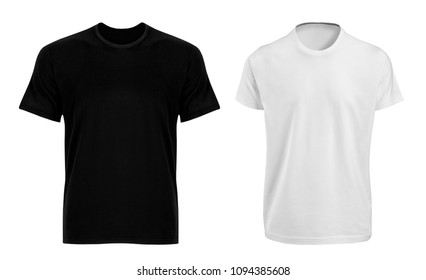 t-shirts back and white isolated on white