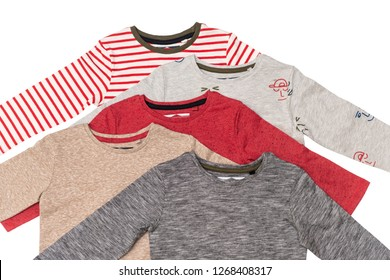T-shirts with long sleeves for boy isolated on white background/ Top view/ Flat lay