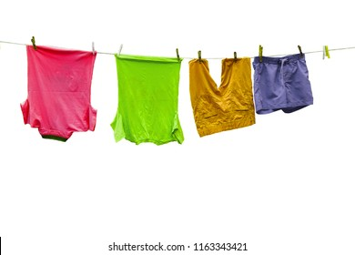 T-shirts and shorts on a rope.