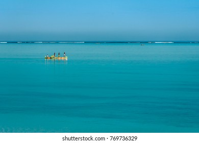 Tsifota, Madagascar, June 09, 2017: Fishing scene of Malagasy fishermen of the Vezo ethnic group in the Ambatomilo lagoon in southwestern Madagascar