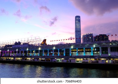 Tsim Sha Tsui, Hong Kong - 8 Aug 2017: Ocean Terminal and International Commercial Center in Hong Kong. It is a cruise terminal, shopping mall, financial center and you can enjoy Victorial Harbour