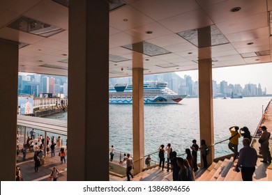 Tsim Tsa Tsui, Hong Kong/SAR Hong Kong - April 7 2019: A view of the harbour from one of the entrance to the Harbour City Shopping mall.