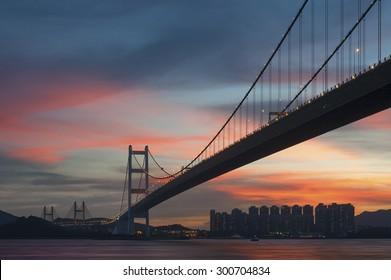 Tsing Ma bridge in Hiong Kong under sunset - Shutterstock ID 300704834