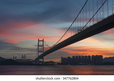 Tsing Ma bridge in Hiong Kong under sunset - Shutterstock ID 347762804
