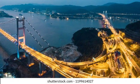 Tsing Ma Bridge at sunset in Hong Kong. Drone Shoot