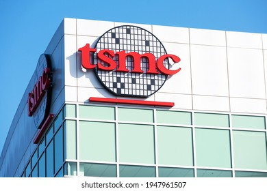 TSMC sign logo on headquarters in Silicon Valley of Taiwan Semiconductor Manufacturing Company - San Jose, California, USA - 2021
