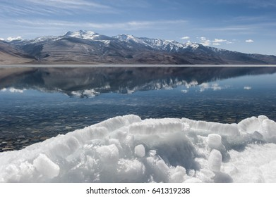 Tso moriri lake of himalaya mountain in ladakh, leh india