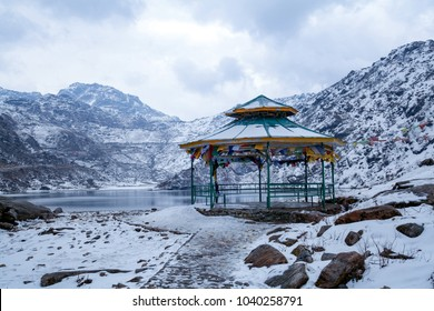 Tsomgo (Changu) Lake. It is a sacred natural glacial lake on top of mountain in Gangtok, East Sikkim, India.