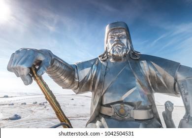 TSONJIN BOLDOG, MONGOLIA - 24 Feb 2018- The Genghis Khan Statue Complex on the bank of the Tuul River, Ulaanbaatar, Mongolia.