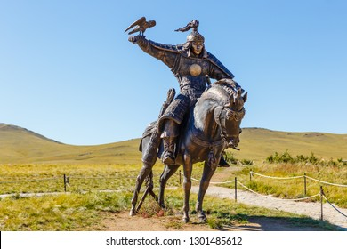 Tsonjin boldog, Mongolia - September 14, 2018: Equestrian statues of warriors of Genghis Khan.