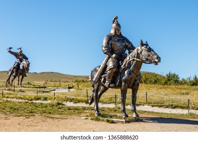 Tsonjin boldog, Mongolia - September 14, 2018: Statues of the soldiers of Genghis Khan on horseback in the Mongolian steppe.