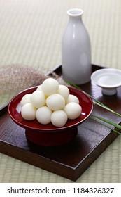 tsukimi dango, traditional  japanese rice dumpling for moon viewing event