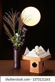 Tsukimi or Otsukimi - Japan Moon Viewing or Autumn Moon Festival. Tsukimi Dango, Bunny and Susuki Grass. Japanese Seasonal Event.